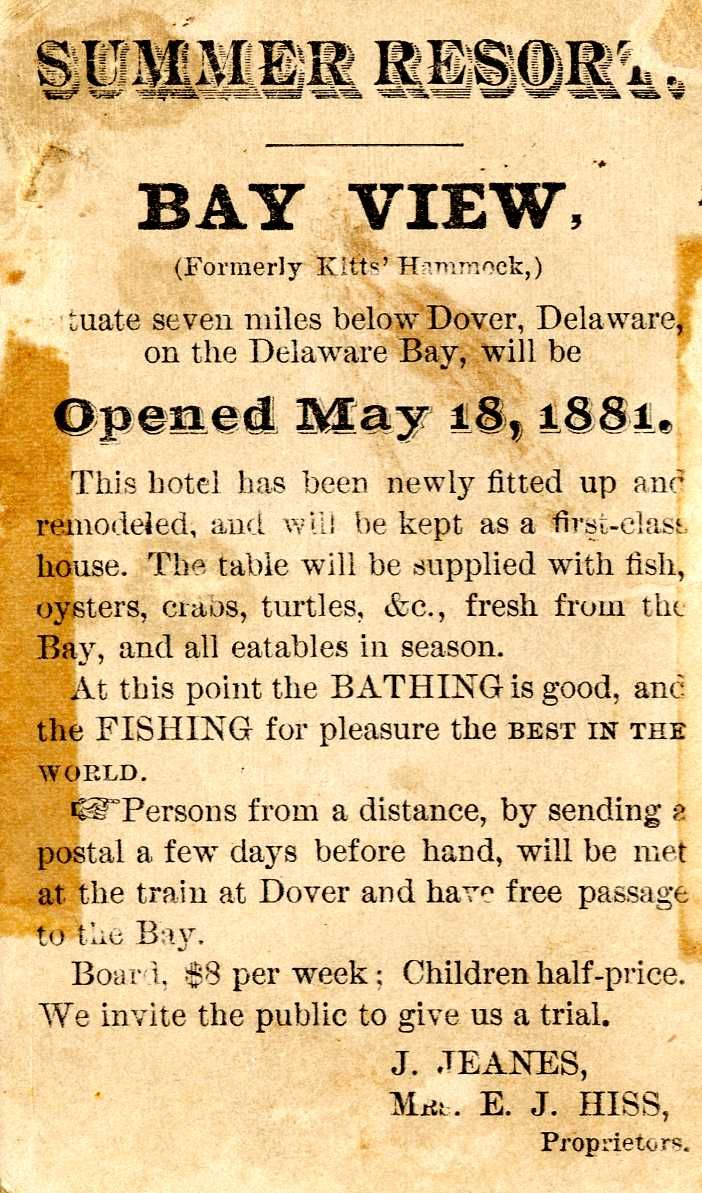Delaware kent county viola - 1881 Newspaper Ad For A Summer Resort In Kitts Hummock Delaware From