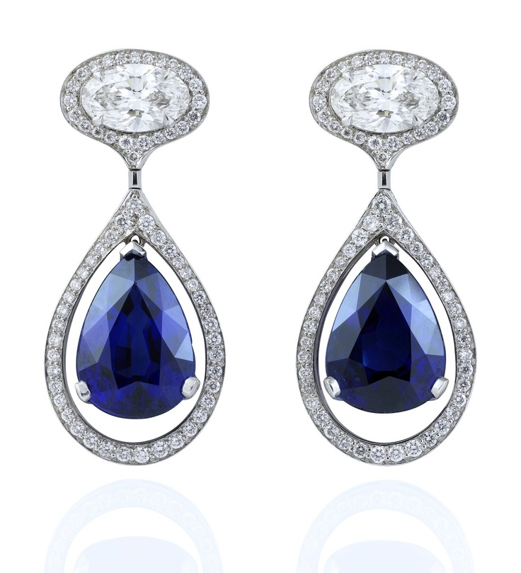 Vintage Sapphire Drop Earrings.   A splendid, colourful pair of drop earrings from Boodles' iconic Vintage collection, featuring two pear shape vivid blue sapphires of 5.01ct, with a further 1.47ct of oval and 0.68ct of round-brilliant cut diamonds in platinum