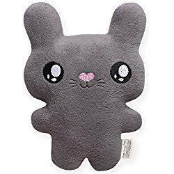 Plush Gray Easter Bunny, Kawaii Style Bunny Rabbit Stuffed Animal, Personalized Gift, Customizable