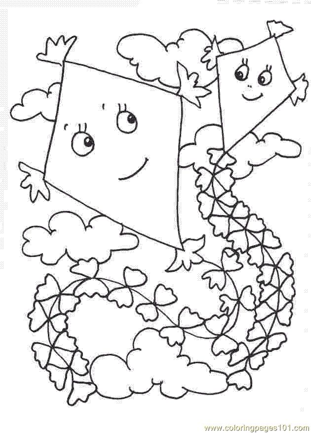 Cartoon Boy Flying Kite Coloring Page Outline Bear Id 40104