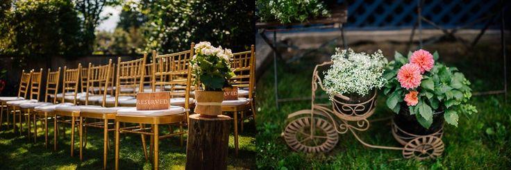 Gold Chairs Backyard Wedding