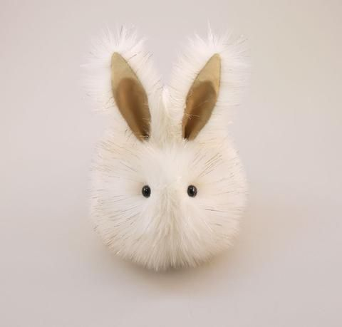 Angel the white and gold bunny stuffed animal plush toy front view.