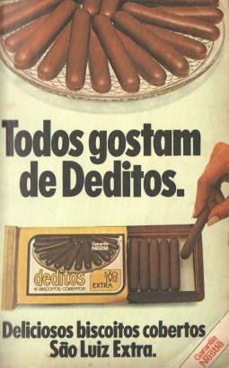 Deditos (1980). Todos gostam (ou gostavam) de Deditos. Mais uma deliciosa guloseima que não temos mais o prazer de desfrutar.