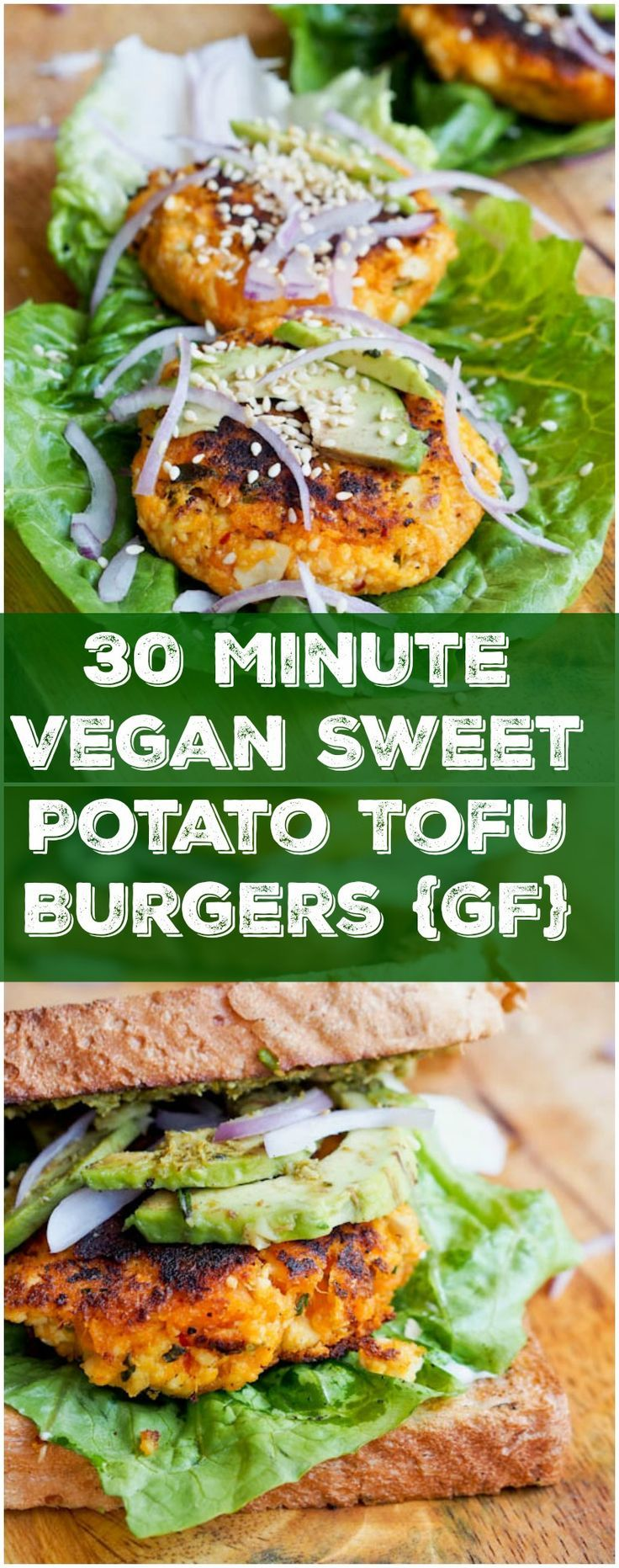 These vegan + gluten free sweet potato tofu burgers are ready in 30 minutes and only require 3 key ingredients (+ a medley of spices). Soft, and tender on the inside while lightly crispy on the outside, and full of flavor.