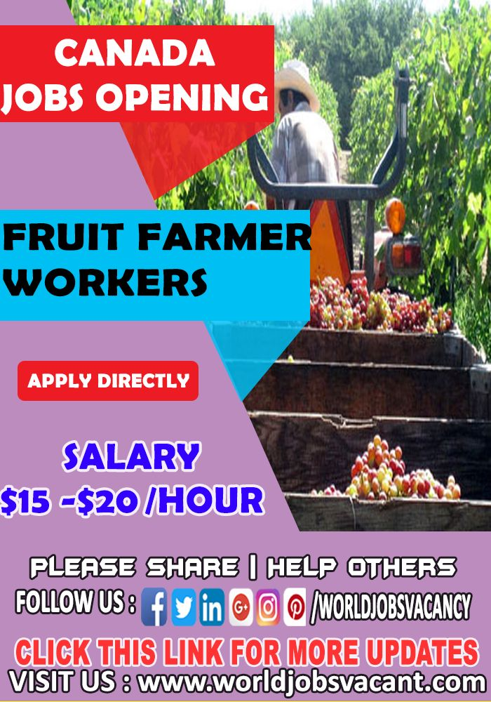 Fruit Farmer Worker wanted in Canada