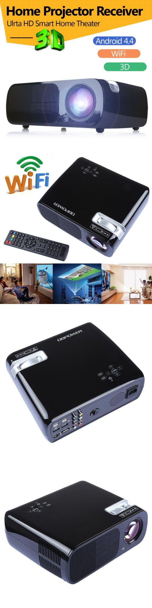 Home Theater Projectors: 2600Lumens Wifi Android 4.4 Hd 1080P Home Theater Cinema 3D Projector Hdmi New BUY IT NOW ONLY: $186.59