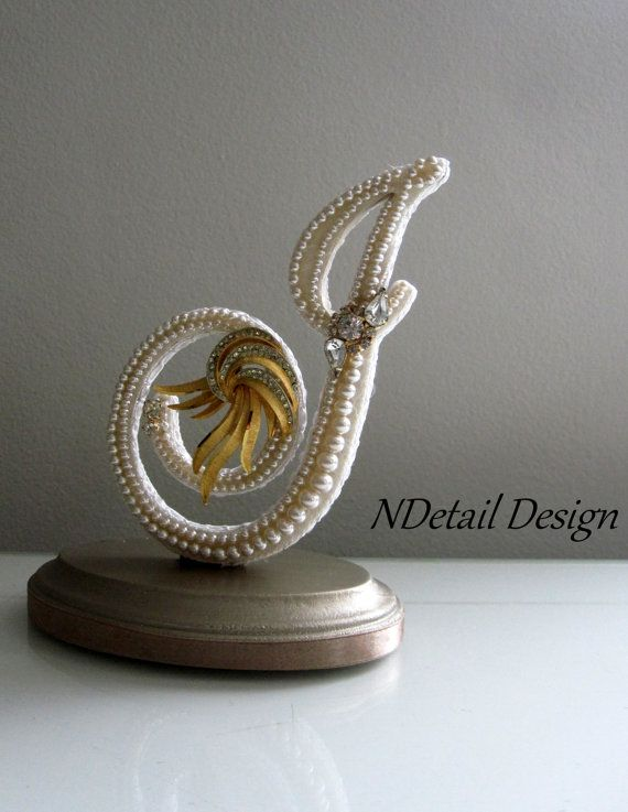 Wedding Cake Topper & Display Monogram Custom Vintage Pearl: Letter J in Ivory Lace and Gold Brooch