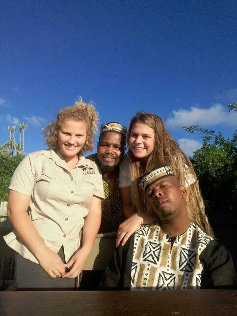 River Camp Team. From left., Cherie, Miles,  Manon and Sipho.