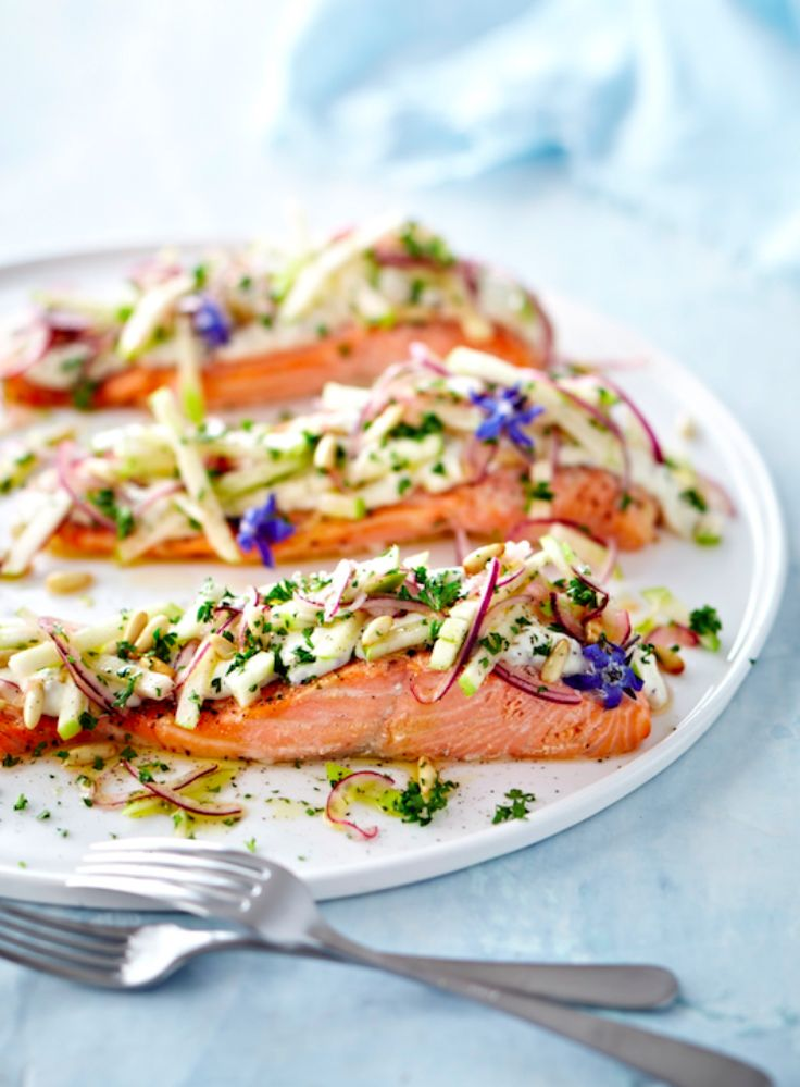 I love having salmon in the fridge as it's easy to jazz it up with a simple but stunning topping from ingredients that are usually in the house. I garnished mysalmon with fresh borage flowers from my garden.