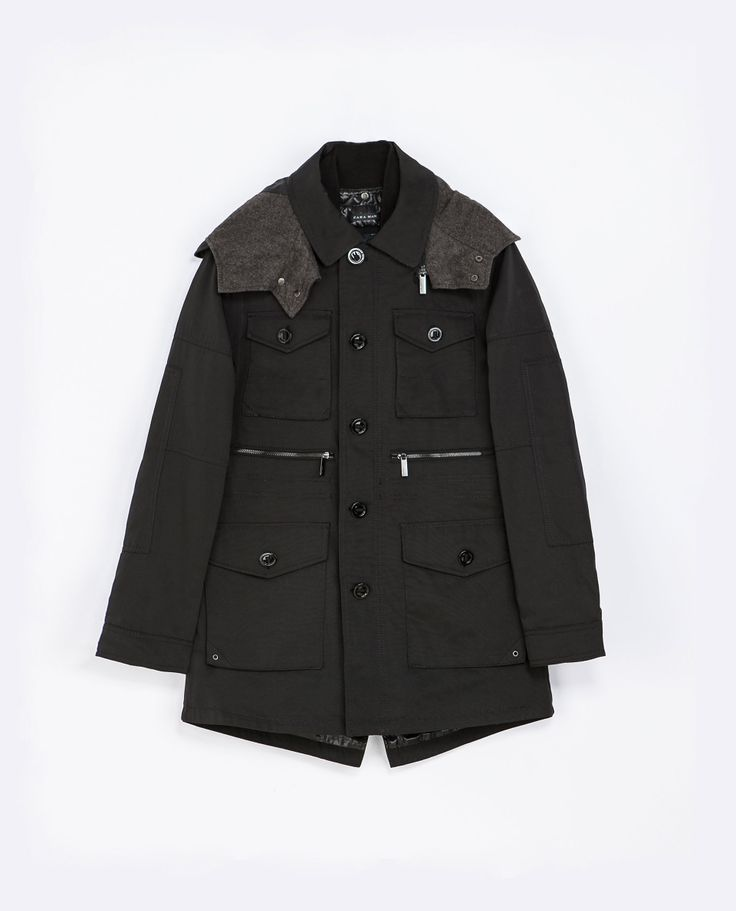 Zara LONG HOODED PARKA  Ref. 6518/356  199.00 CAD               OUTER SHELL  66% POLYESTER, 34% COTTON  LINING  MAIN LINING: 100% POLYESTER  HOOD LINING: 100% POLYESTER  OTHER LINING: 86% ACRYLIC, 10% WOOL, 4% OTHER FIBRES  FILLING  100% POLYESTER
