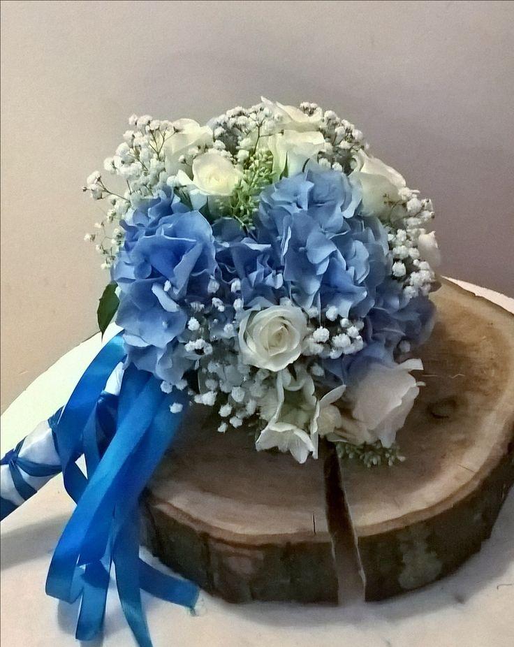 błękitny bukiet ślubny