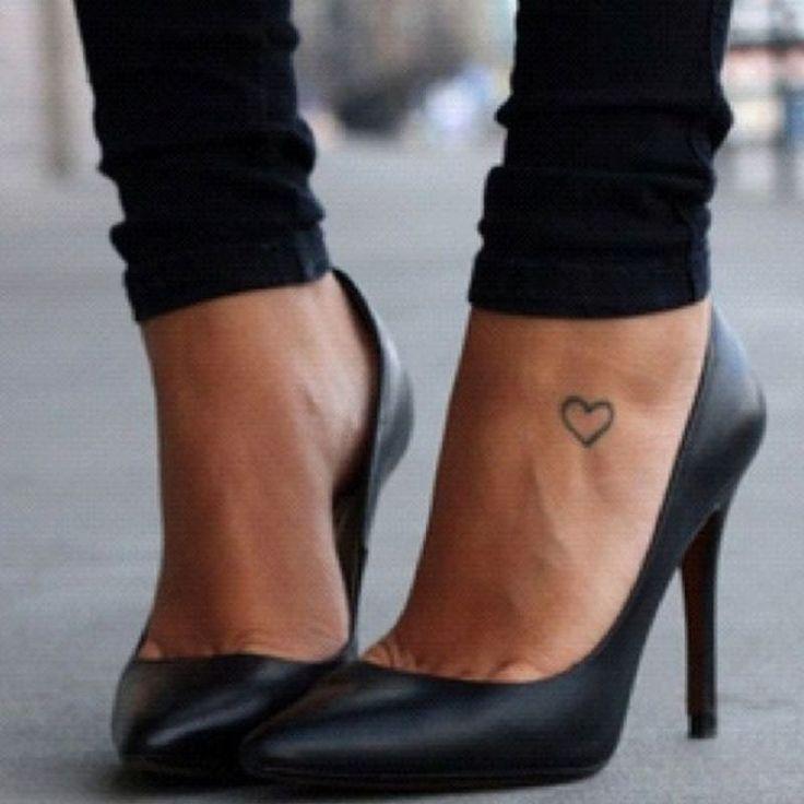 Tiny heart foot tattoo
