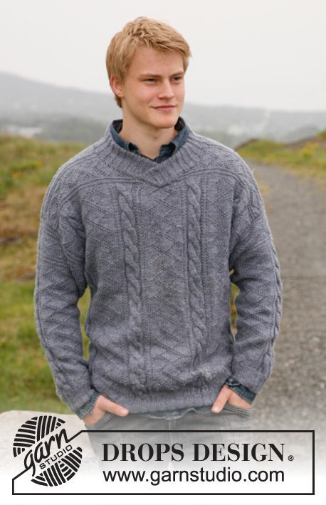"""Knitted DROPS jumper for men with textured pattern in """"Karisma"""". Size: S to XXXL. ~ DROPS Design. Free pattern"""