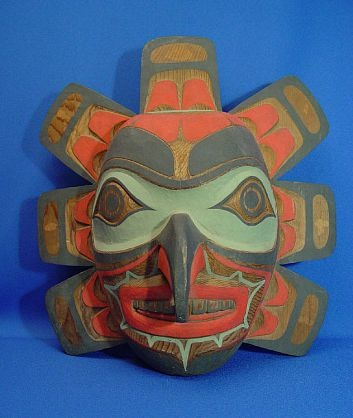 Masks - Totems - Wood Carvings-'Northwest Coast Kwaguilth Sun Mask by Tony Hunt Jr.'-Len Wood's Indian Territory