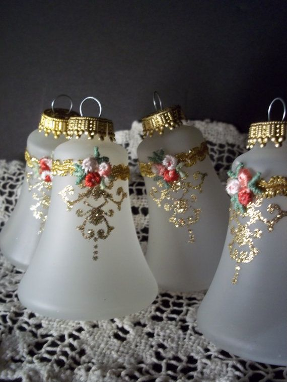 4 Vintage Krebs Bell Shaped Glass Ornaments Shabby Chic