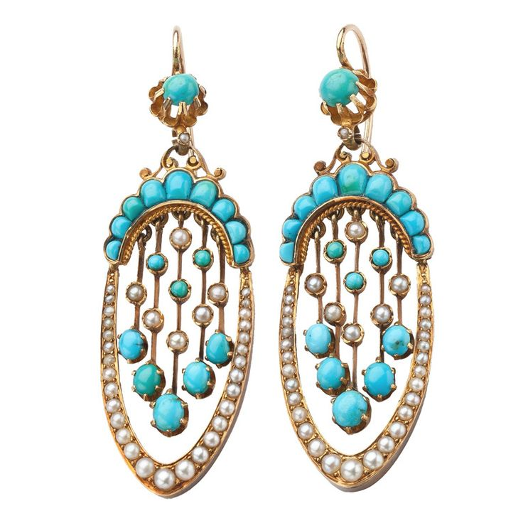 Antique Turquoise and Pearl Earrings  | From a unique collection of vintage dangle earrings
