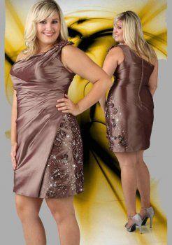 fleur une épaule asymétrique perlée à court brun, plus la taille des robe de cocktail grande taille
