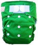 Happy Babes GREEN An All-In-One Nappy is a Modern Cloth Nappy (MCN) where the insert is sewn together with the outer cover. The All-In-One Nappy can be used from birth to toilet training. All-In-One Nappies consist of a waterproof outer which is usually a polyurethane laminated polyester and a cotton micofibre lining that is extremely soft against the baby's skin. They also have a pocket where additional inserts can be added to the nappy for extra absorbency. PACKAGES AVAILABLE