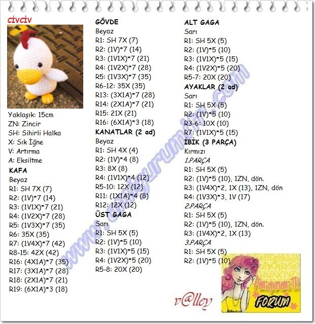 doll gauge: close to 15cm ZN: chain SH: Magic ring X: single crochet V: increase A: decrease