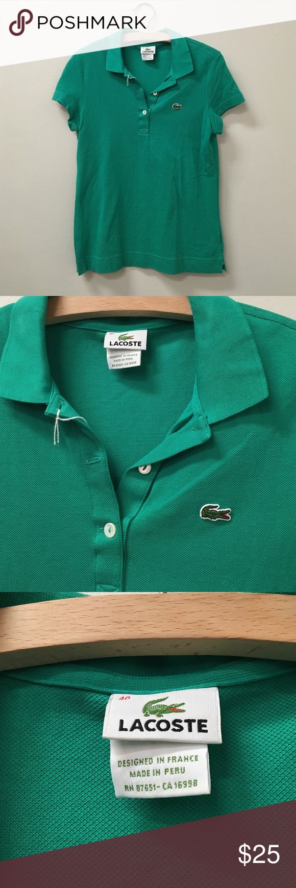 Green Lacoste polo shirt small Green polo shirt by Lacoste size 40 on tag - fits like size small/extra small Lacoste Tops Tees - Short Sleeve