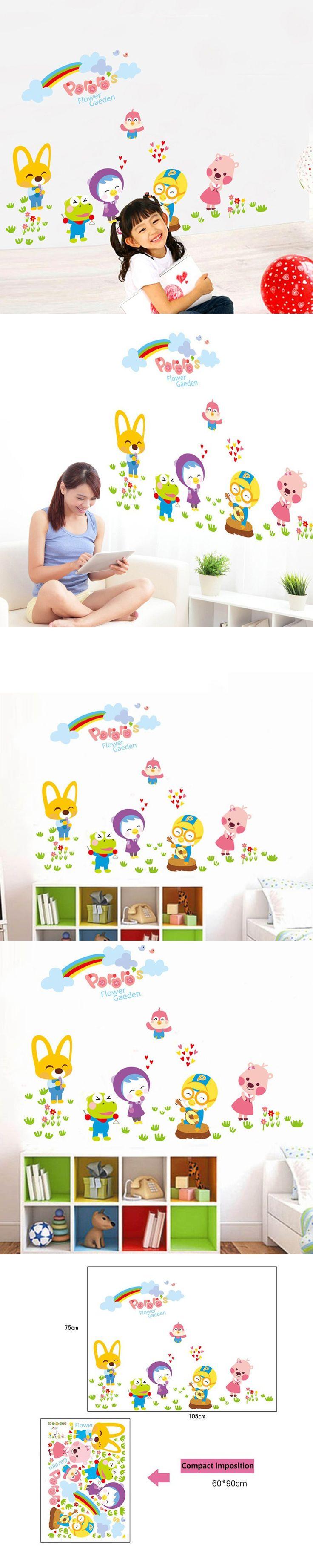 DIY Animals Flower Garden Vinyl Wall Stickers Kids Bedroom Wallpaper Decals Baby Children Cartoon Zoo Nursery Room Decoration