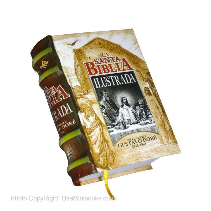 Miniature Hardbound Book 414 p La Santa Biblia Ilustrada in spanish Gustavo Dore