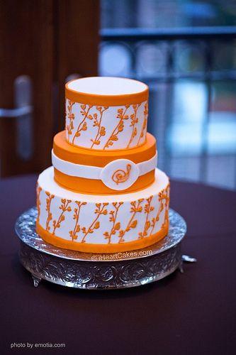 Orange and White Modern Wedding Cake - iHeartCakes by iHeartCakes - Gena, via Flickr