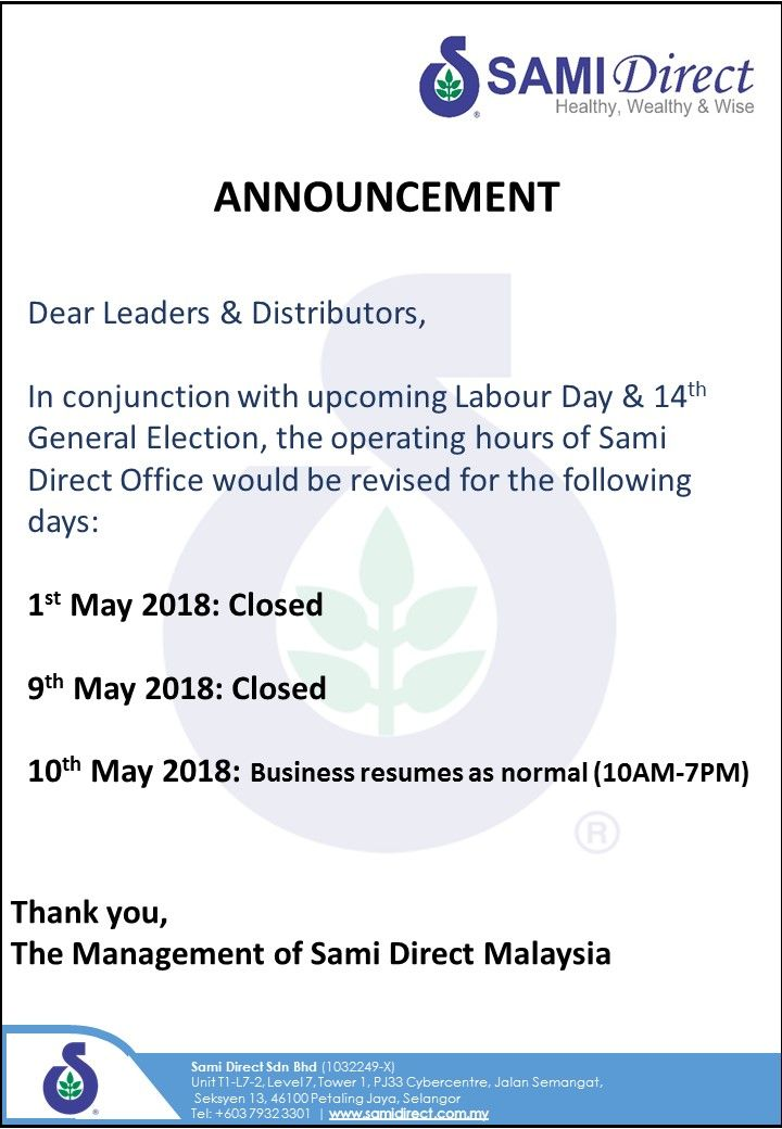 Holiday Announcement in Malaysia  #samidirect #nutrition