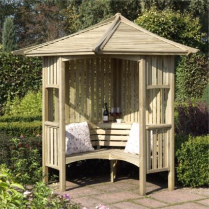 Blooma 6x6 Solway Wooden Corner Arbour Home Delivered