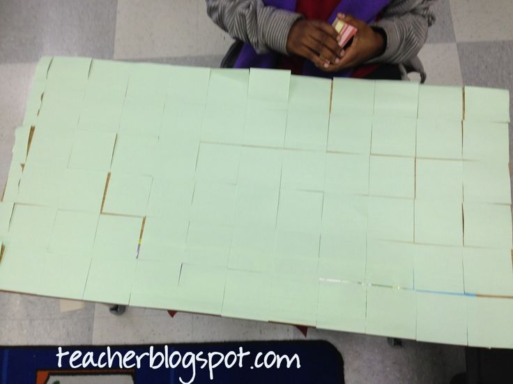 Introduce Area Square Units by using Sticky Notes
