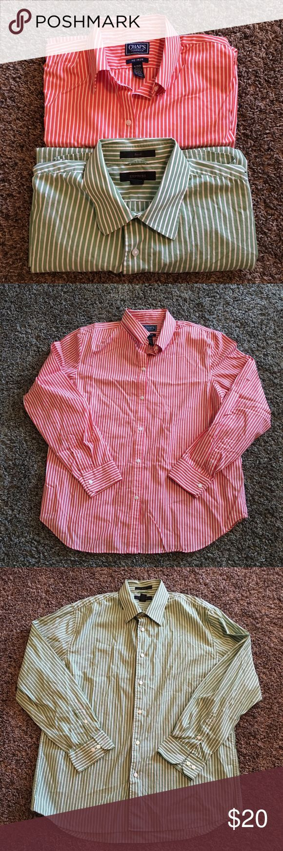 2 Men's bottom down shirts. Size XL Good condition men's shirts. The first one is an Express, size XL. The second one is a Chaps size XL. Make an offer :) Express Shirts Casual Button Down Shirts