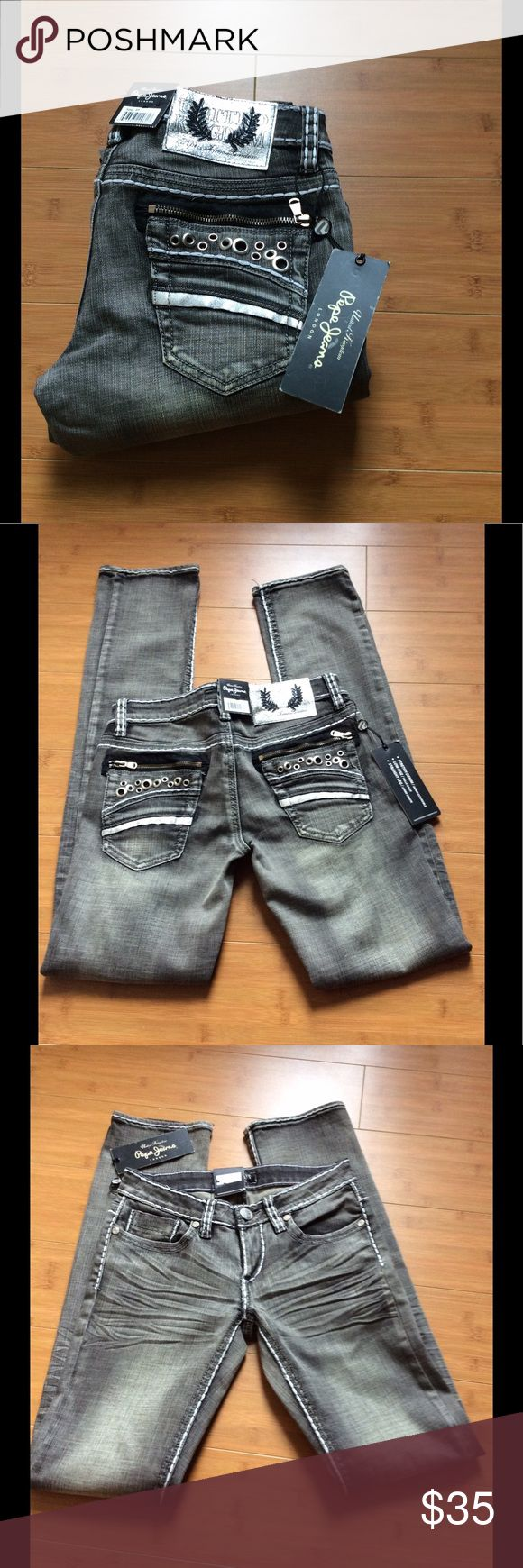 """Pepe Jeans. """"Esme"""" Size 27 Pepe """"Esme"""" black Cromwell (color) stonewashed black/grey.  Size 27, length 32.  Low rise with white stitching   Super cute. Pepe Jeans Jeans Straight Leg"""