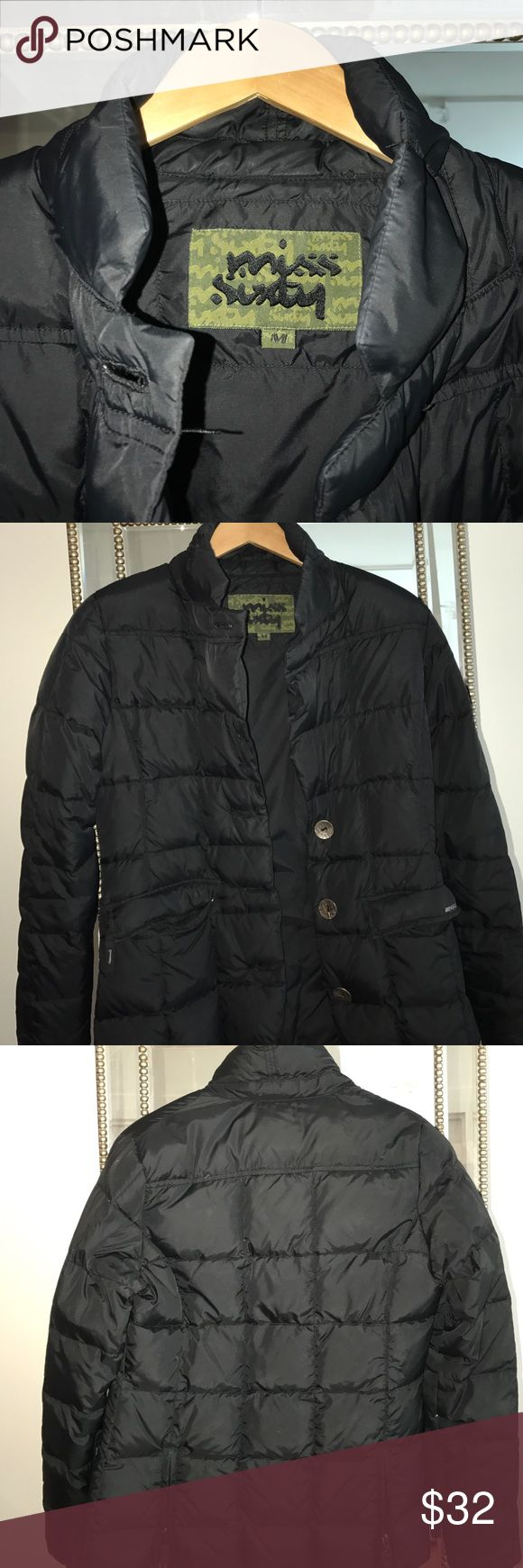 Miss Sixty Puffer Jacket Miss Sixty black Puffer Jacket that comes to about the hip. The jacket had a button closure. The two top buttons are missing and need to be replaced (reflected in the price) Miss Sixty Jackets & Coats Puffers