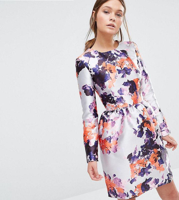 True Violet Satin Dress with Tulip Skirt - Multi