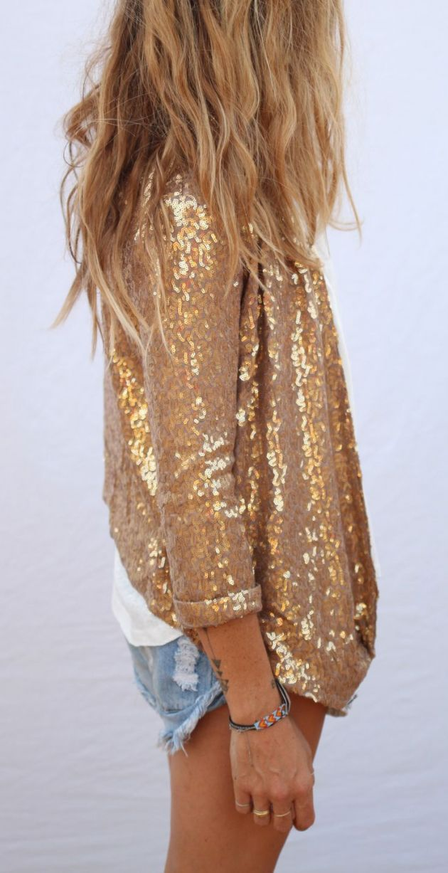 Gold Sequinned Jacket with Casual Denim Shorts - Perfect Mix of Dressed Up and…