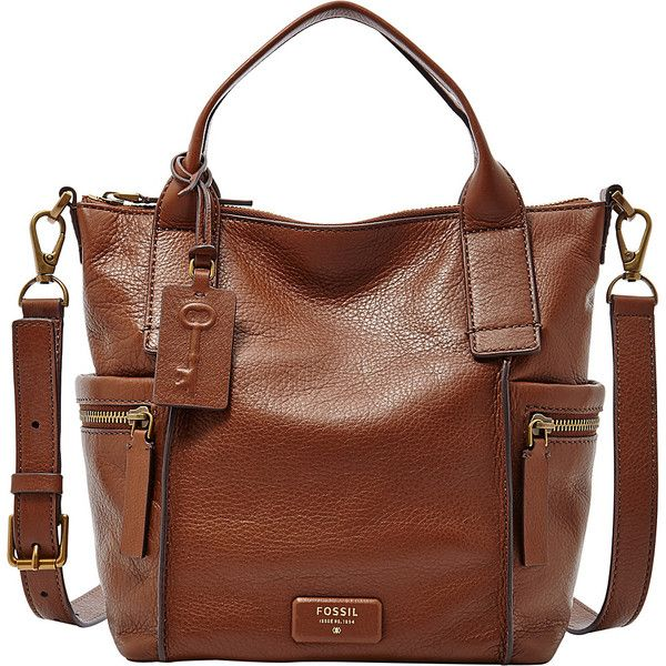 Fossil Emerson Medium Satchel Satchel ($198) ❤ liked on Polyvore featuring bags, handbags, brown, leather handbags, leather satchel, leather man bag, brown leather handbags and leather hand bags