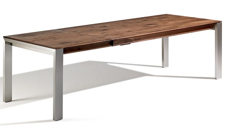 Esstisch ausziehbar Design Nussbaum Massivholz Metall individuelle Fertigung nach Maß VARIO