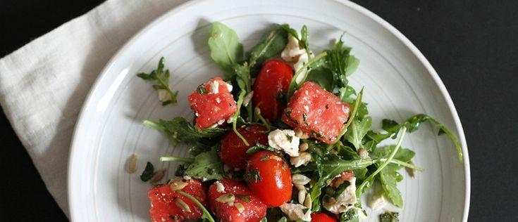 Salada de melancia com tomate - Lucilia Diniz
