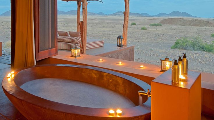 The view from your bath at Okahirongo Elephant Lodge, Kunene, Namibia. #luxuryretreat #namibia