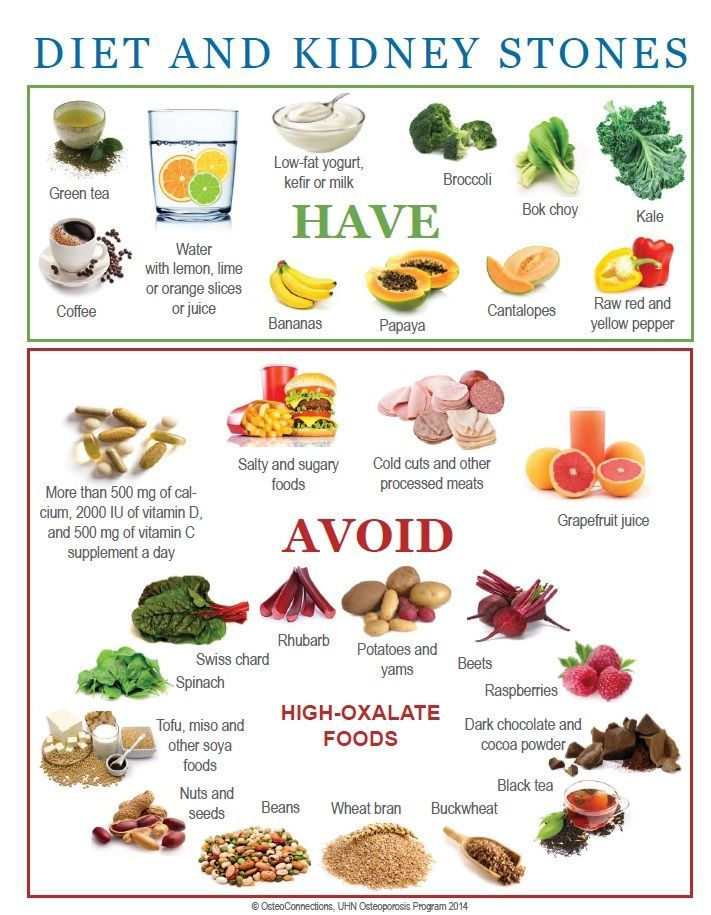 Diet and Kidney Stone Prevention.  I UNDERSTAND BANANAS ARE HIGH IN POTASSIUM SO SHOULD BE AVOIDED, BUT RASPBERRIES ARE SUITABLE, BOTH OF WHICH ARE CONTRARY TO THE INFORMATION GIVEN HERE.  IF IN DOUBT ABOUT ANY FOOD OR LIQUID, ONE SHOULD CONSULT A KIDNEY HEALTH PROFESSIONAL  OR DIETICIAN - CURLEYTOP1.