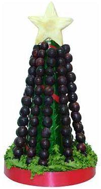 Árbol de Navidad hecho con uvas. Ideal para tener a mano las 12 uvas de Fin de Año!