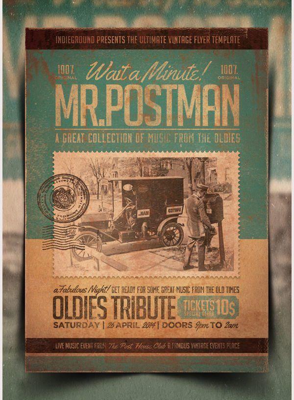 vintage postcard template 990   Top Templates   Event poster