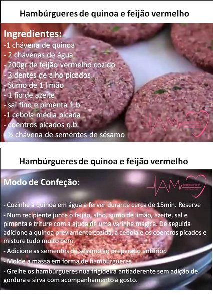 Hamburgueres de quinoa e feijão vermelho