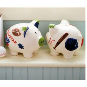 All Boy Sports Piggy Bank by Mud Pie