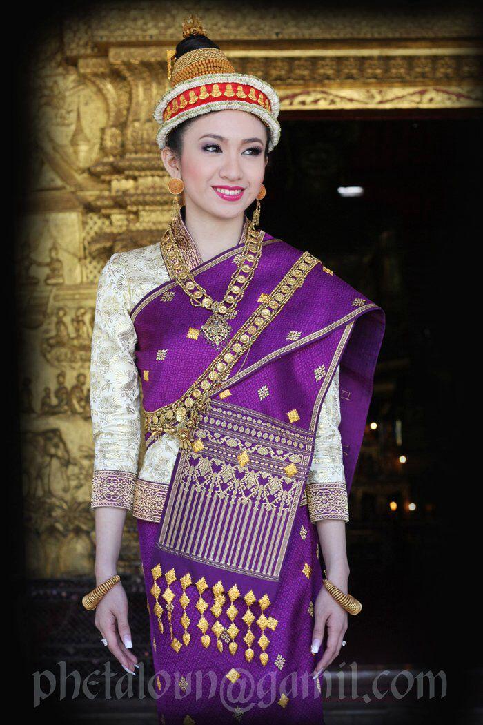 Anita, (Lao Singer) Traditional Luang Prabang Wedding Sinh in Purple