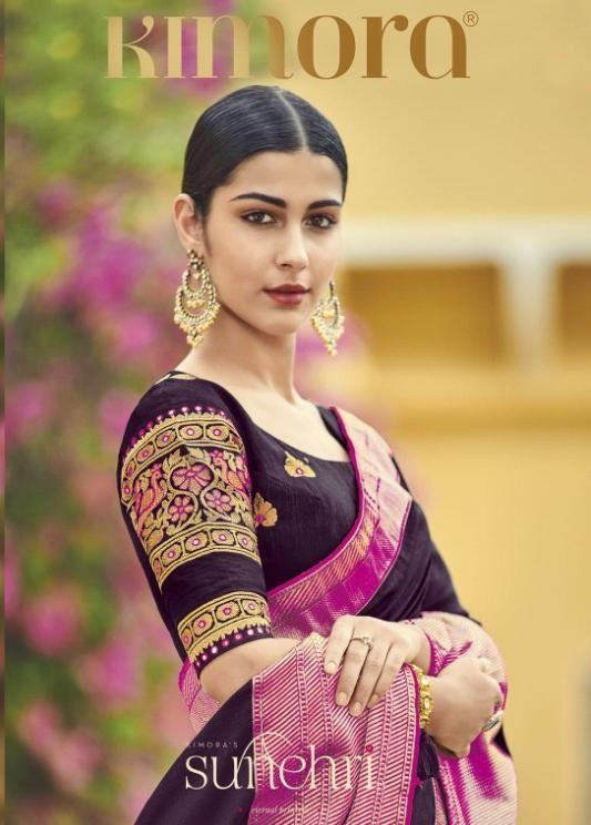 78209cef12 Kimora Fashion Sunehri 1086-1096 Series Heavy Designer Embroidered Silk  Wedding Sarees Collection at Wholesale Rate