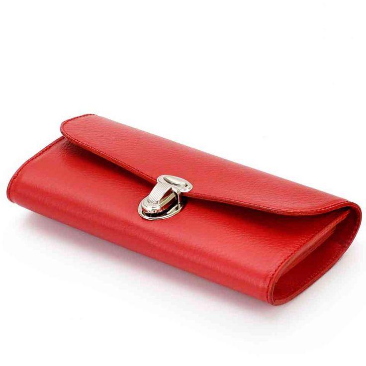 Красный кожаный кошелек ручной работы в винтажном стиле от Leonid Titow