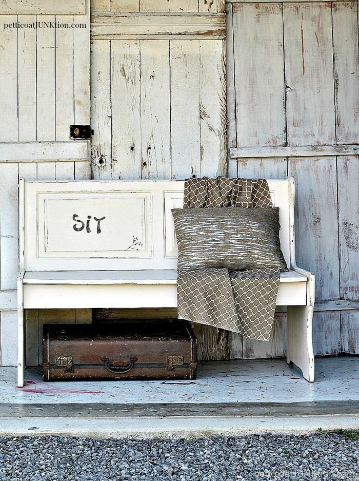 Simple Farmhouse Style Furniture Makeover. I bought the bench at the Nashville Flea Market and it was a mess. I repainted, distressed, stenciled...and it is a beauty now. Do you like Farmhouse Furniture or Farmhouse Style Decor? I love it. More themed farmhouse furniture on the blog.The paint is Reclaim Beyond Paint
