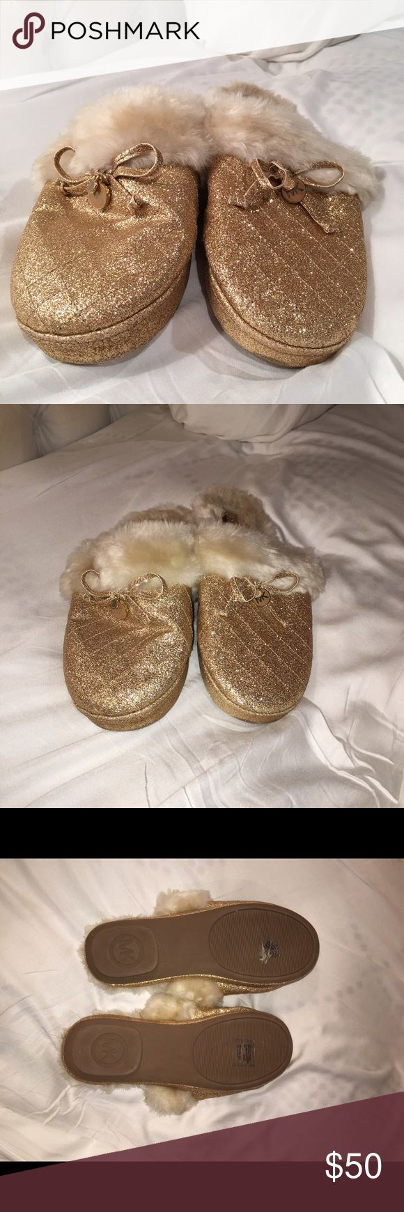 MICHAEL KORS gold glitter slippers!!! MICHAEL KORS gold glitter slippers!!! Worn only a handful of times - in great condition! Still has stickers on bottom Shoes Slippers