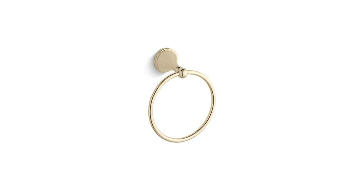 The K-363 towel ring provides a stylish finishing touch for bath and powder rooms and coordinates with Finial Traditional faucets and accessories.